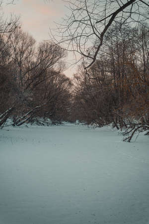 winter river landscape in the Russian countryside