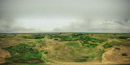 landscapes of a Russian village with a quadcopter in summer. panorama 360 Stock Photo