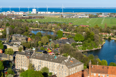 Areal view of Copenhagen, Denmark, with a perspective of a Freetown Christiania, a self-proclaimed autonomous neighborhood, in the borough of Christianshavn in the Danish capital Copenhagen. Stock Photo