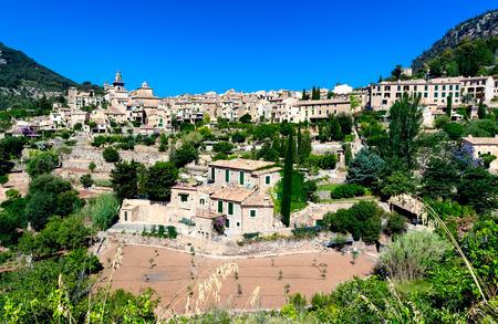Ancient mountain town Valldemossa in Majorca island, Tramuntana mountains, Spain
