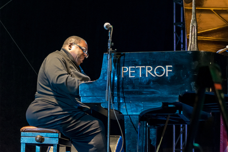 cyrus: NIS, SERBIA - AUGUST 11: Jazz pianist Cyrus Chestnut performing live with Lenny White and Buster Williams as a trio at Nisville Jazz Festival August 11, 2016 in Nis, Serbia Editorial