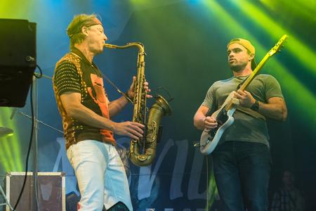 evans: NIS, SERBIA - AUGUST 13: American jazz saxophonist Bill Evans with his guitarist Bryan Baker live at Nisville Jazz Festival August 13, 2016 in Nis, Serbia