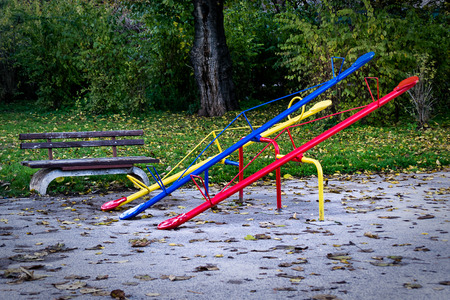 Seesaw or teeter-totter in the park