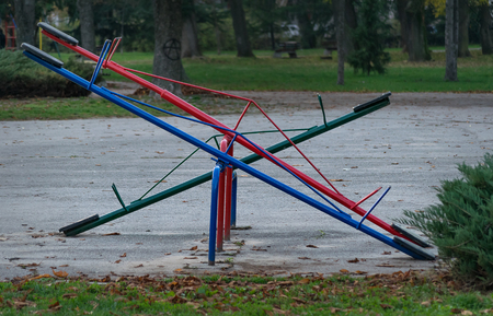 totter: Seesaw or teeter-totter in the park