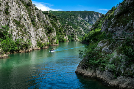 Motor boat in the lake of Canyon Matka in Macedonia