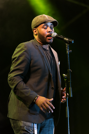 NIS, SERBIA - AUGUST 10: British R&B and jazz singer Tony Momrelle live at Nisville Jazz Festival, August 10, 2017 in Nis, Serbia Redakční