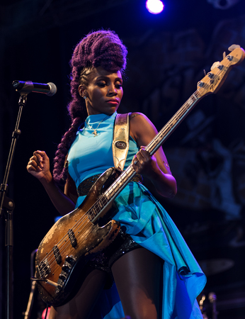 NIS, SERBIA-AUGUST 11, 2017: Nik West famous bass player performing live with her band at Nisville Jazz Festival, August 11, 2017 in Nis, Serbia