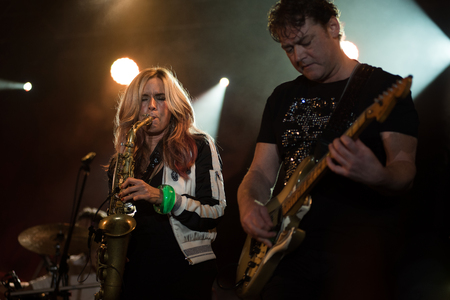 NIS, SERBIA-AUGUST 13, 2017: Candy Dulfer famous Jazz saxophonist  performing live at Nisville Jazz Festival, August 13, 2017 in Nis, Serbia