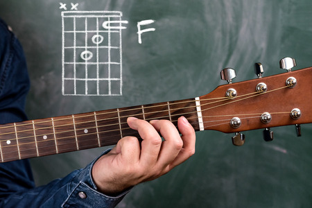 Man in a blue denim shirt playing guitar chords displayed on a blackboard, Chord F