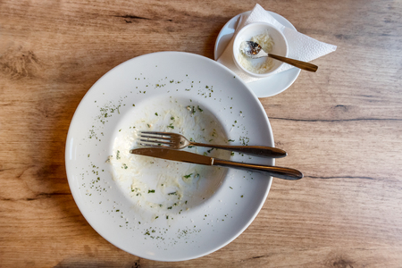 Empty plate with fork and food remnants after meal on a wooden table