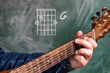 Man in a blue denim shirt playing guitar chords displayed on a blackboard, Chord G Stock Photo