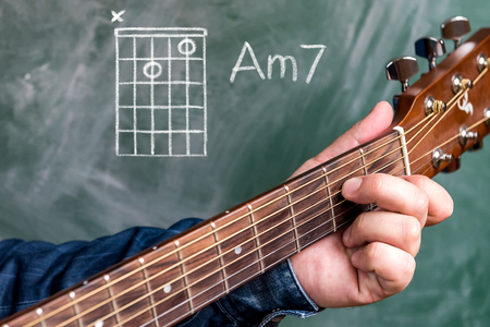 Man in a blue denim shirt playing guitar chords displayed on a blackboard, Chord A minor 7