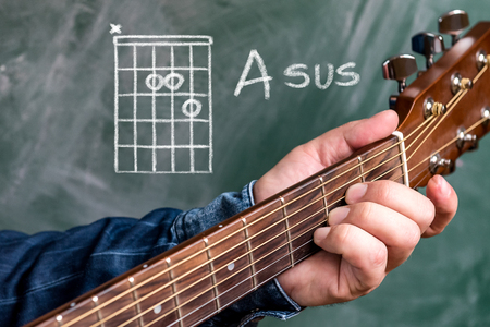 Man in a blue denim shirt playing guitar chords displayed on a blackboard, Chord A sus