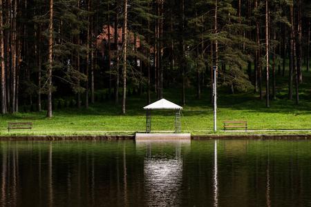 Beautiful evening lake view with pavilion in Zlatibor, Serbia Banco de Imagens