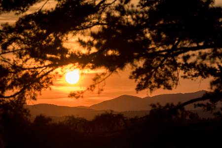 Beautiful sunset scene in mountains. Zlatibor, Serbia