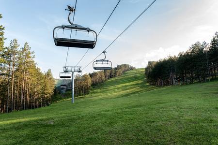 Ski lift out of season on mountain Tornik, Zlatibor, Serbia
