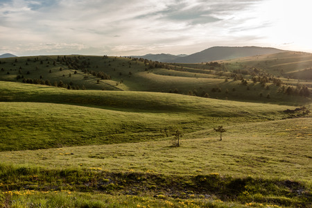 Landscape of Zlatibor Mountain. Green meadows and hills under blue sky with clouds in springtime