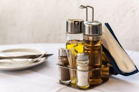 Olive oil and balsamic vinegar on a Greek Mediterranean restaurant table