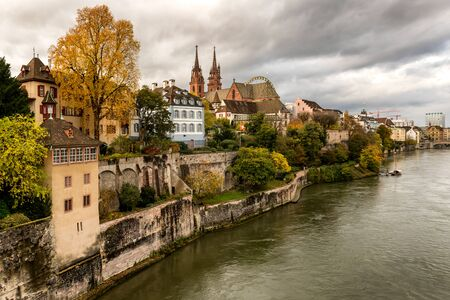Grossbasel old town with Basler Muenster Cathedral on the Rhine river in Basel, Switzerland