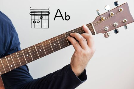 Learn Guitar - Man in a dark blue shirt playing guitar chords displayed on whiteboard, Chord A flat (Ab)