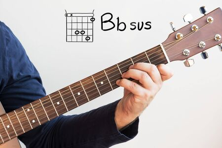 Learn Guitar - Man in a dark blue shirt playing guitar chords displayed on whiteboard, Chord B flat sus