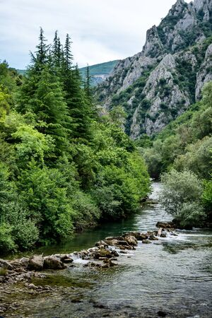 Treska river in the western part of North Macedonia, a right tributary to Vardar, just below Matka Canyon and Dam -well known for kayak competitions Stock Photo - 147865211