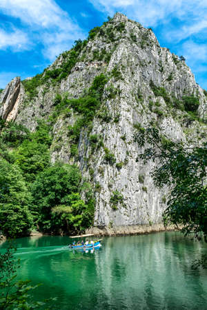 Matka Lake, North Macedonia - June 10, 2017. Matka Canyon - west of Skopje, one of the most popular tourist weekend outdoor destinations in Macedonia and home to several medieval monasteries Stock Photo - 147997613