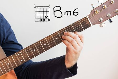 Learn Guitar - Man in a dark blue shirt playing guitar chords displayed on whiteboard, Chord B minor6