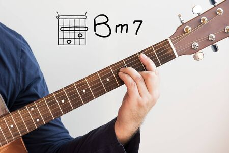 Learn Guitar - Man in a dark blue shirt playing guitar chords displayed on whiteboard, Chord B minor 7 Stock Photo