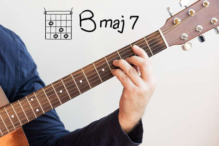 Learn Guitar - Man in a dark blue shirt playing guitar chords displayed on whiteboard, Chord B major 7 Stock Photo