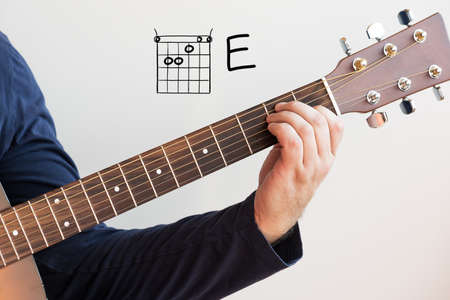 Learn Guitar - Man in a dark blue shirt playing guitar chords displayed on whiteboard, Chord E