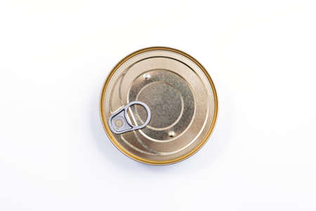 Round metal can top view. Food container isolated on white - for fish, ham, meat, vegetables. Round preserve box