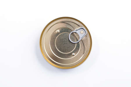 Round metal can top view. Food container isolated on white - for fish, ham, meat, vegetables. Round preserve box. Stock Photo