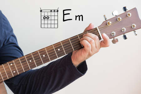 Learn Guitar - Man in a dark blue shirt playing guitar chords displayed on whiteboard, Chord E minor