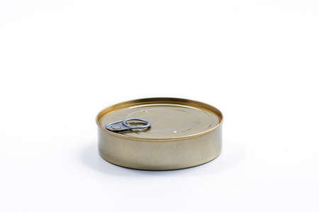 Round metal can side view. Food container isolated on white - for fish, ham, meat, vegetables. Round preserve box. Stock Photo