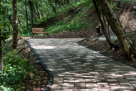 Park walkway with benches in the spring. Cool shaded walking area.