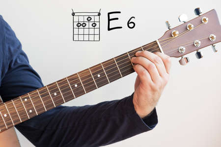 Learn Guitar - Man in a dark blue shirt playing guitar chords displayed on whiteboard, Chord E 6