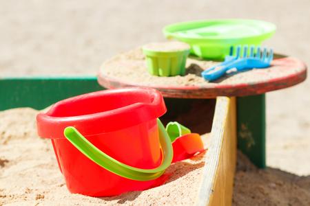 sandbox: bucket and molds in the sandbox