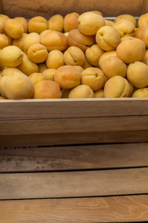 fresh apricot and wood box abstract fruit colorful pattern texture background
