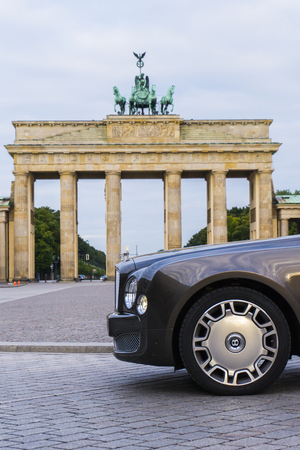 BERLIN - AUGUST 17, 2014: Bentley Mulsanne at the test drive event for automotive journalists. Bentley Mulsanne is powered by 6.75 liter V8 twin-turbo, which produces 512 hp of power.