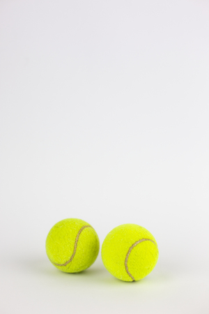 close-up of tennis balls isolated on white background