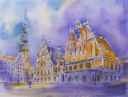 Watercolor painting House of the Blackheads in the old town of Riga Latvia Melngalvju nams, Schwarzh upterhaus St. Peters Church and Ryga town hall cityscape drawing a UNESCO World Heritage Site Stock Photo