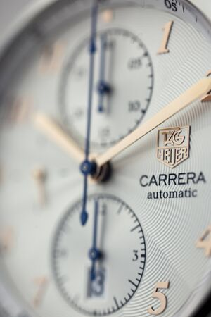Chaux-de-Fonds, Switzerland, August 21 2019 - The close up of Tag Heuer Grand Carrera automatic macro shot, a famous swiss made luxury wrist watch from Switzerland manufacturing clock company Editorial