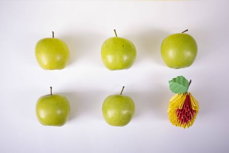 harvest concept apples on a white background handmade paper origami crafted paper art