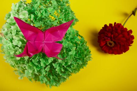 origami butterfly on a green bush in a basket on a colored background beautiful bouquet studio close shot on yellow with red flower