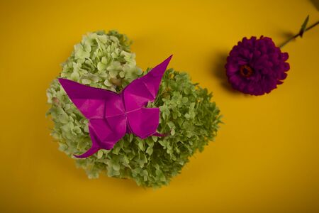 origami butterfly on a green bush in a basket on a colored background beautiful bouquet studio close shot with red flower 写真素材