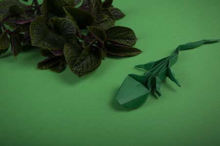 handmade papercraft art lizard crafted of origami paper on a colored background
