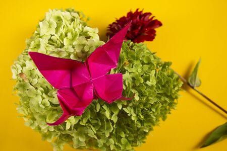 origami butterfly on a green bush in a basket on a colored background beautiful bouquet studio close shot 写真素材