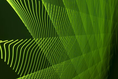 abstract long exposure blurred light lines black and green background. Geometric shapes 写真素材