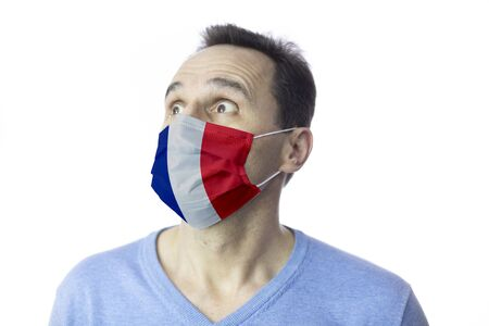 Man medical mask. Fear. Isolated. Coronavirus outbreak in France. Covid-19
